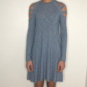 Elan blue knit cold shoulder dress, NWT, size S